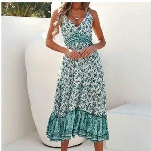 boho chic gypsy green floral print cami dress